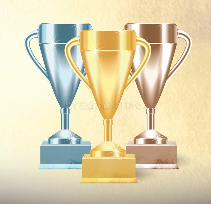 Установите золотых, бронзовых и серебряных чашек или кубков трофея на текстурированной предпосылке Реалистическая иллюстрация век бесплатная иллюстрация