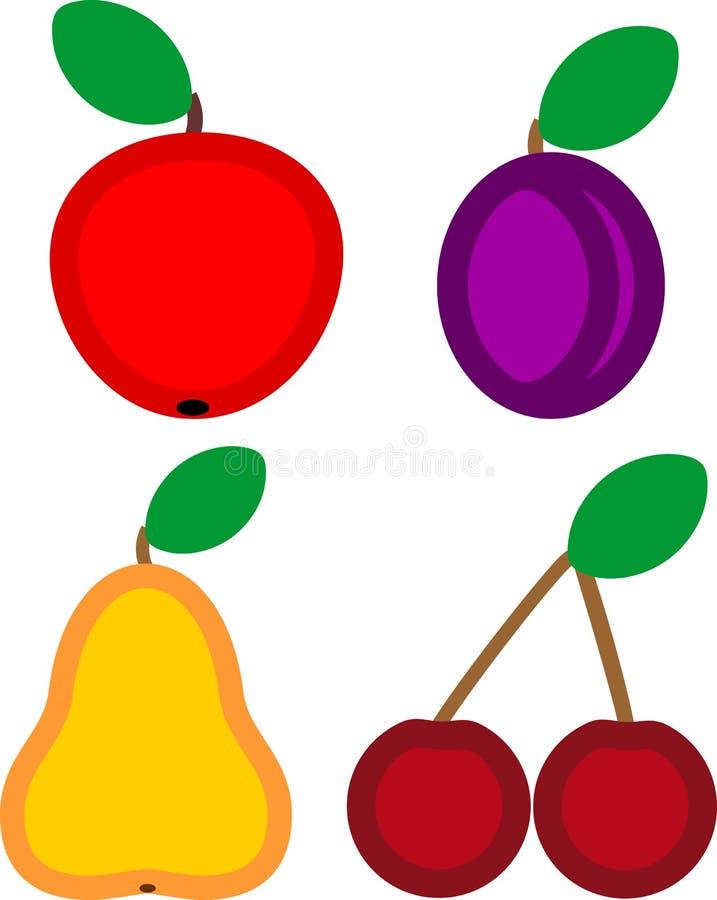 Установите зрелых плодов в плоском стиле иллюстрация вектора