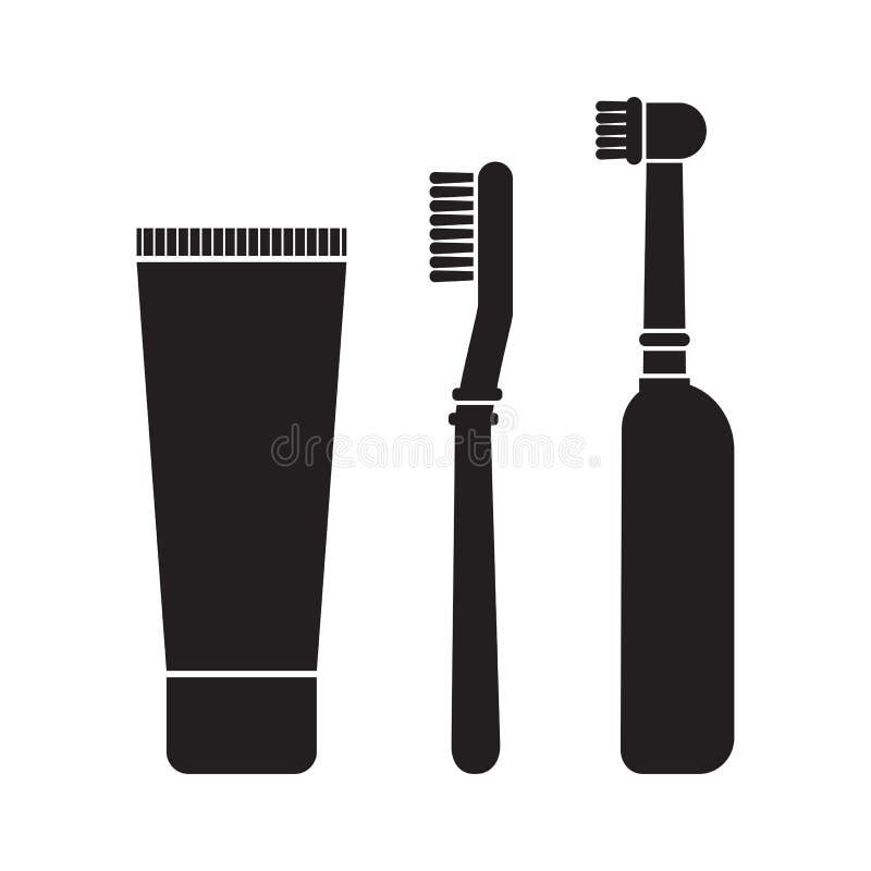 Установите зубной пасты, зубной щетки и электрической зубной щетки E r иллюстрация вектора