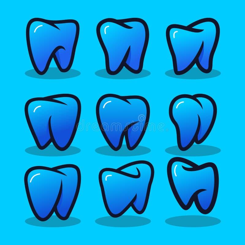 Установите зубоврачебного современного вектора логотипа иллюстрация штока