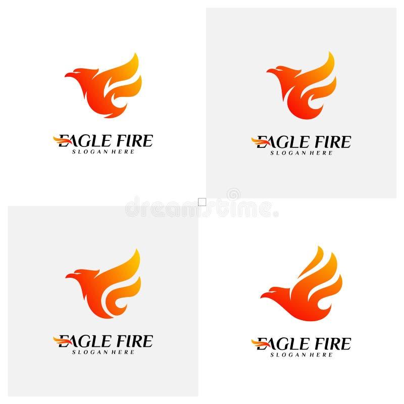 Установите идей проекта логотипа птицы огня Феникса Вектор шаблона логотипа орла голубя r иллюстрация штока