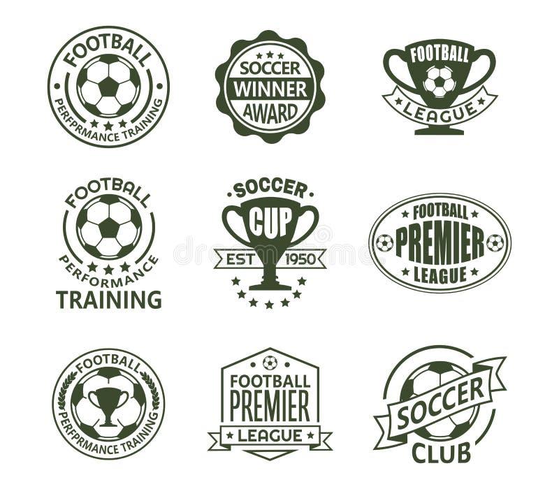 Установите изолированного футбола или европейских знаков футбола бесплатная иллюстрация