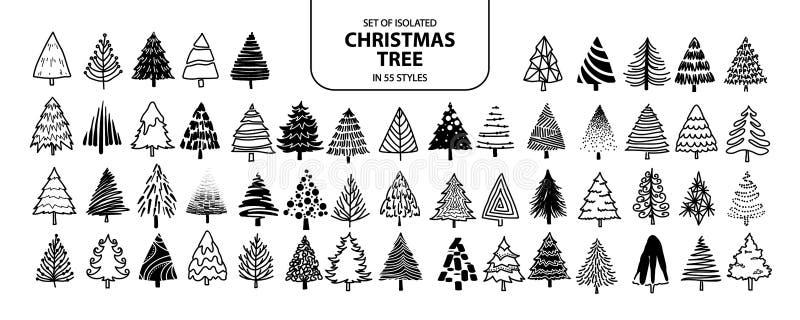 Установите изолированной рождественской елки в 55 стилях иллюстрация штока