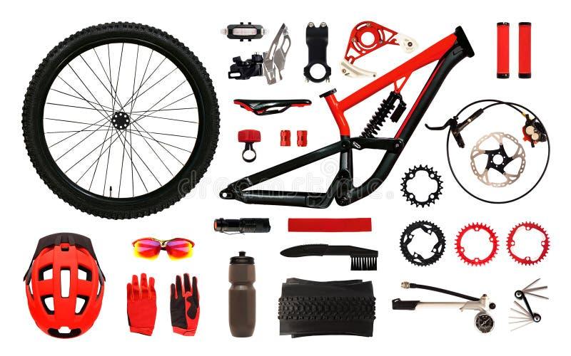 Установите изолированных аксессуаров и оборудования велосипеда стоковая фотография rf