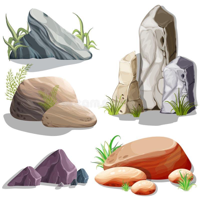 Установите изолированных камней, валунов Объекты вектора Яркие фоновые изображения для печати, создают графический дизайн сети, п стоковые изображения
