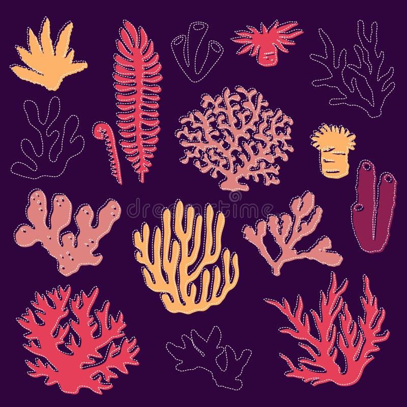 Установите изолированных красочных кораллов и водорослей на темной предпосылке иллюстрация вектора