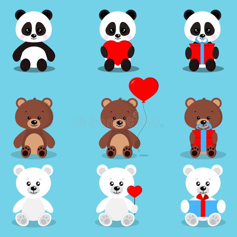 Установите изолированных милых медведей праздника в сидя представлении с подарками и сердцами: бурый медведь, полярный медведь, п иллюстрация штока