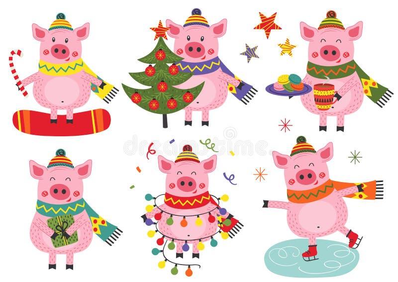 Установите изолированных свиней рождества жизнерадостных иллюстрация штока