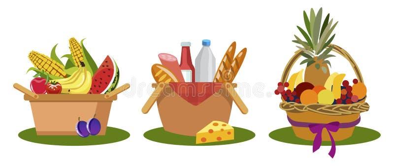 Установите иллюстрации вектора еды корзин пикника плоско бесплатная иллюстрация