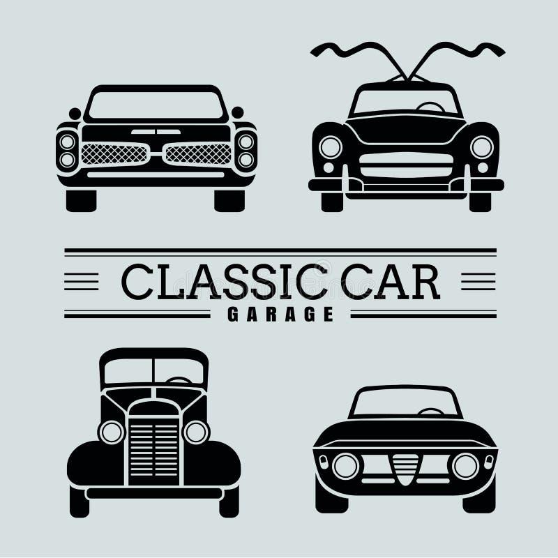 Установите иллюстрации вектора значка автомобиля вид спереди классические иллюстрация штока