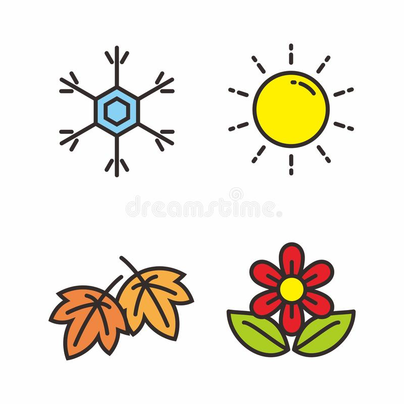 Установите иллюстрации вектора 4 сезонов Значок сезона иллюстрация штока