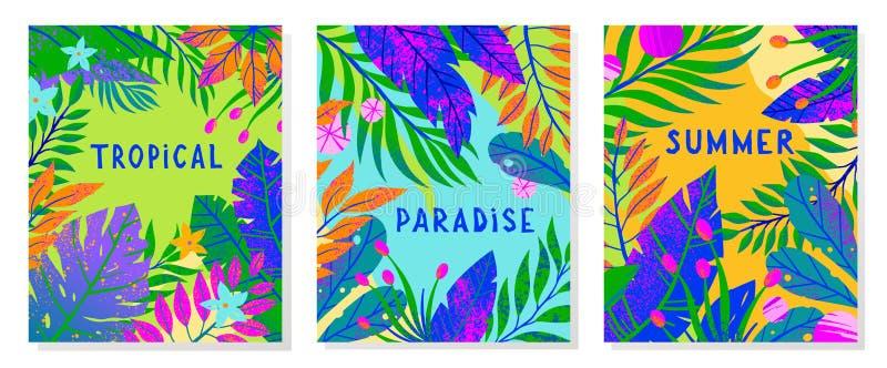 Установите иллюстраций вектора лета с тропическими листьями, цветками и элементами иллюстрация штока