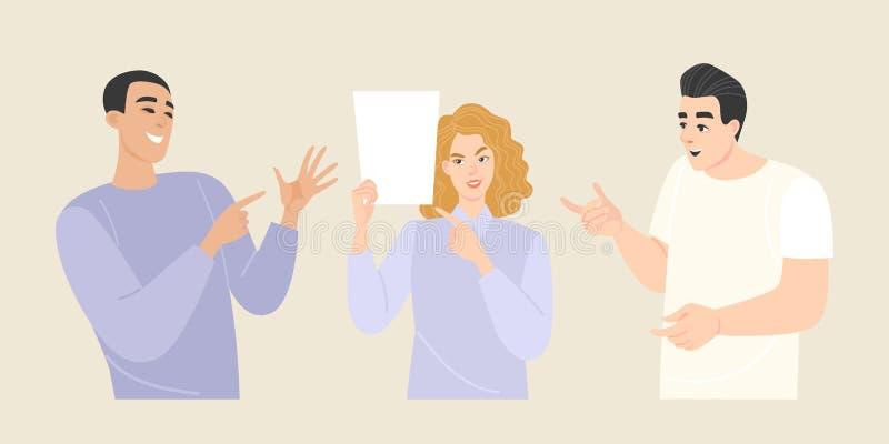 Установите иллюстраций вектора молодых людей с различными эмоциями и жестами Девушка показывает пустой лист бумаги иллюстрация вектора