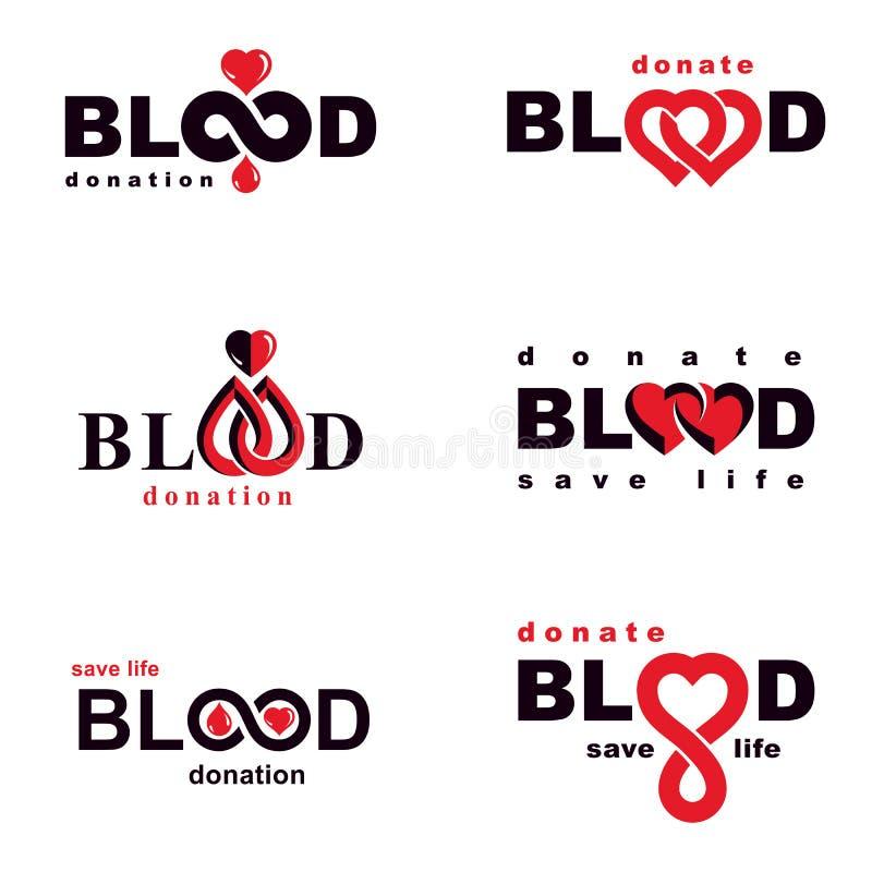 Установите иллюстраций донорства крови вектора схематических Тема гематологии иллюстрация штока