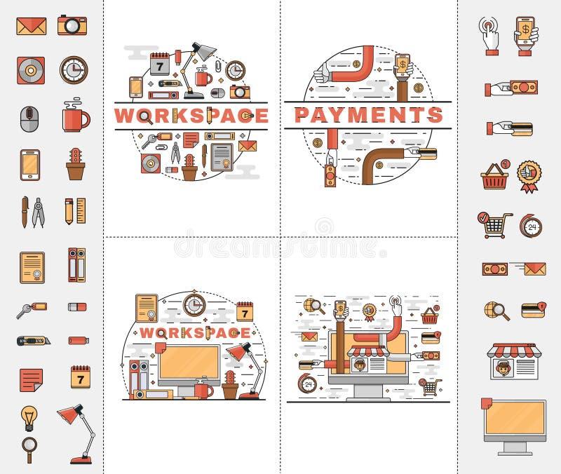 Установите линию значки искусства плоские бесплатная иллюстрация