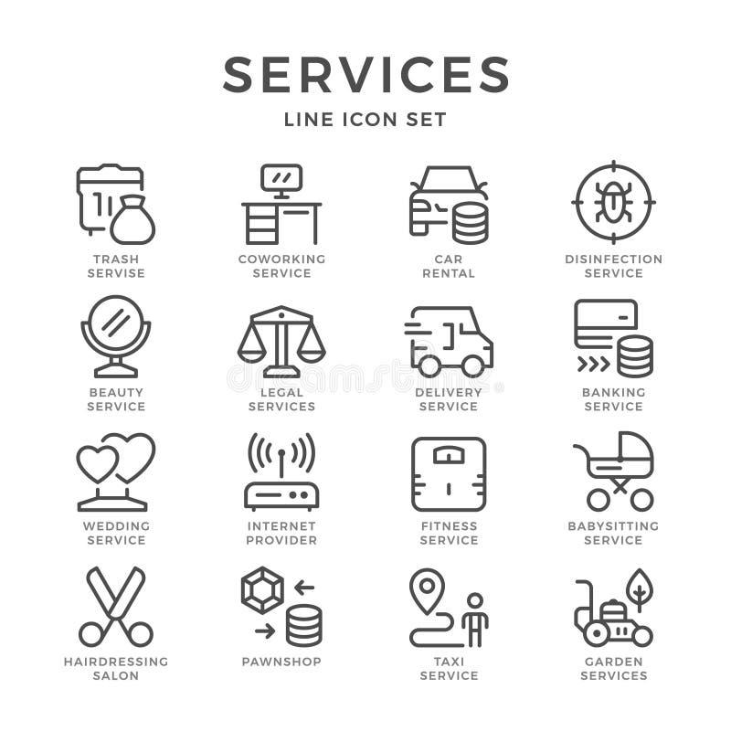 Установите линию значки обслуживаний иллюстрация вектора