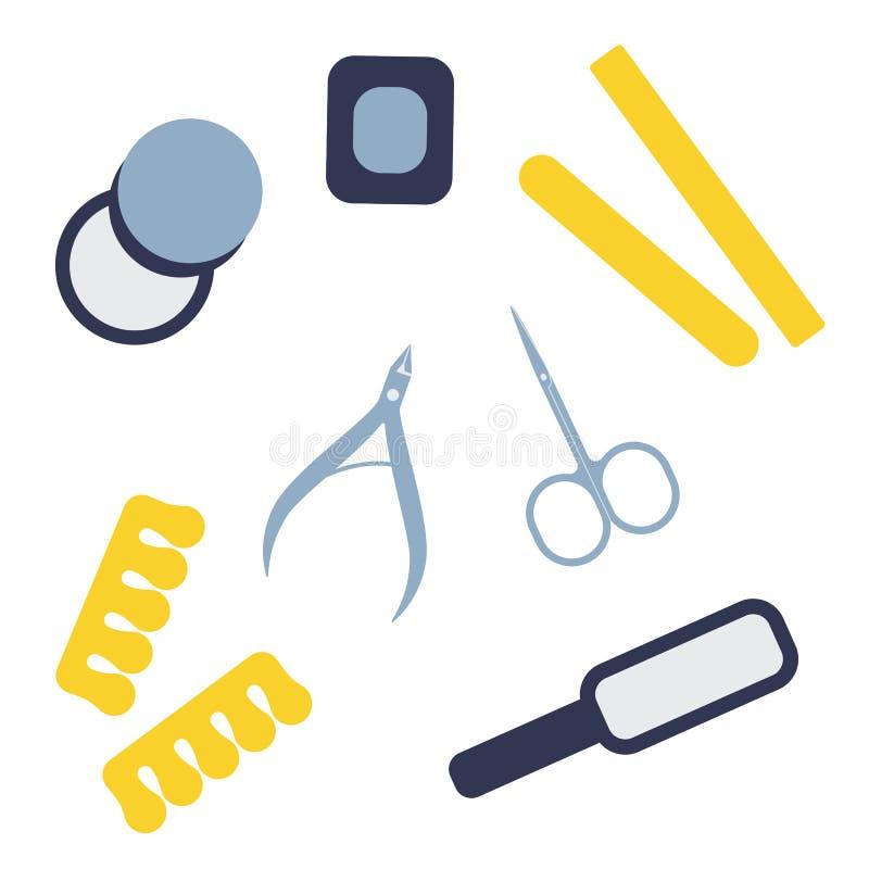 Установите инструментов маникюра и pedicure Профессиональные и домашние аппаратуры для заботы ногтя Тема красоты Иллюстрация вект иллюстрация штока