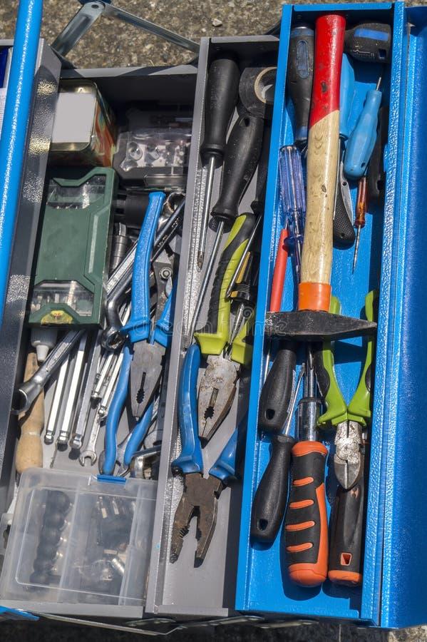 Установите инструментов на toolbox DIY стоковое фото rf