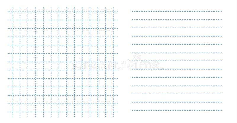 Установите искусства бумаги листа тетради решетки квадрата цвет малого голубой в пунктирной линии и шаблоне горизонтальных прямых иллюстрация штока