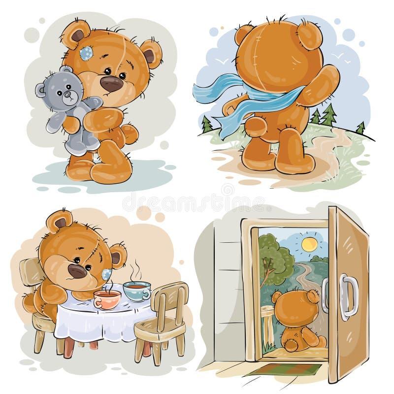 Установите иллюстрации искусства зажима вектора пробуренных плюшевых медвежоат иллюстрация вектора