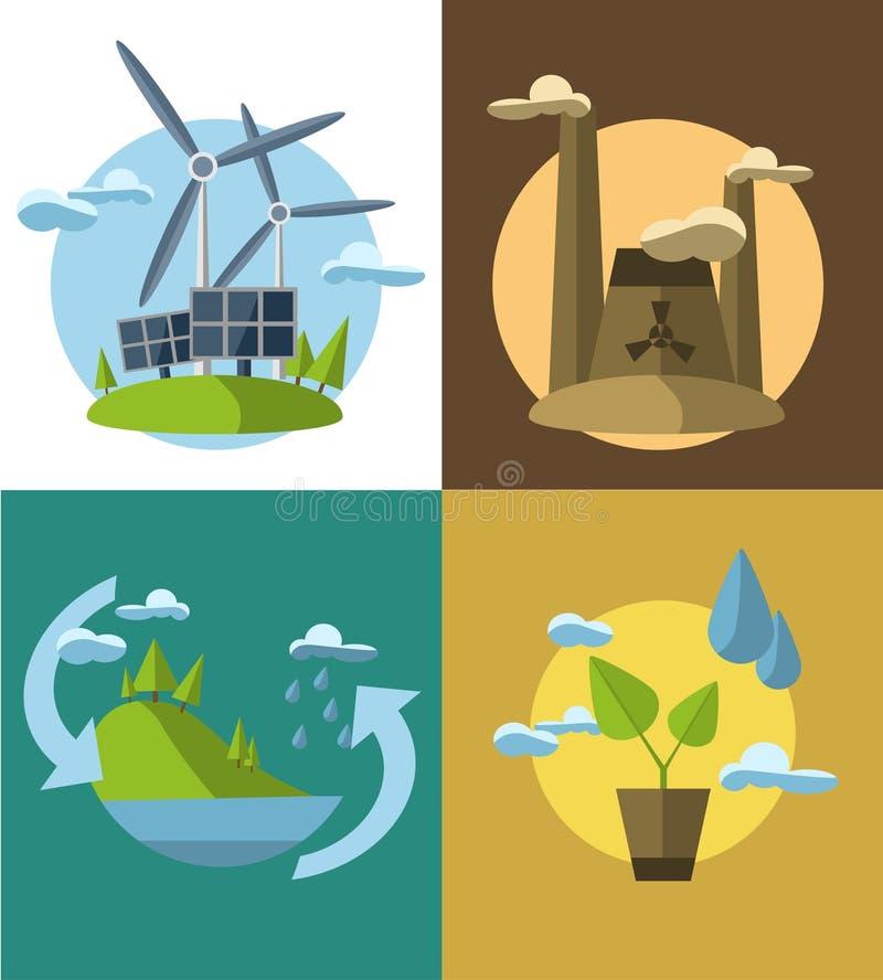 Установите иллюстрации идеи проекта вектора плоские с значками экологичности, окружающей среды, зеленой энергии и загрязнения иллюстрация вектора