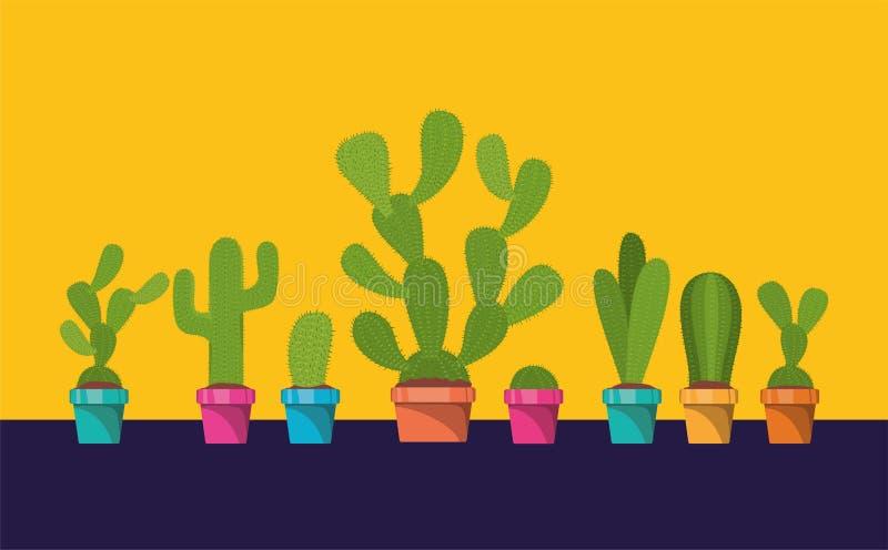 установите кактуса в баке иллюстрация штока