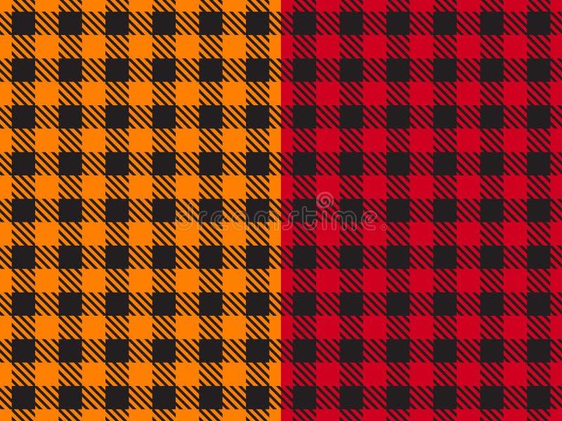 Установите картину вектора безшовную Ткань широкой предпосылки клетки красная и оранжевая цвета таблицы в клетке Абстрактное chec иллюстрация штока