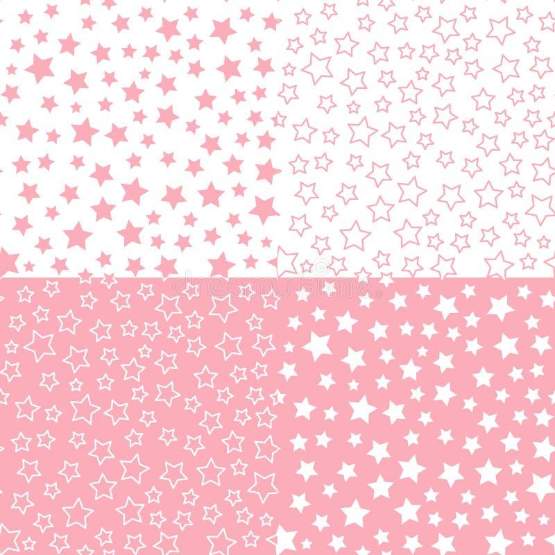 Установите картину звезды вектора безшовную Розовая предпосылка цветовой палитры Дизайн ткани для детского душа иллюстрация штока