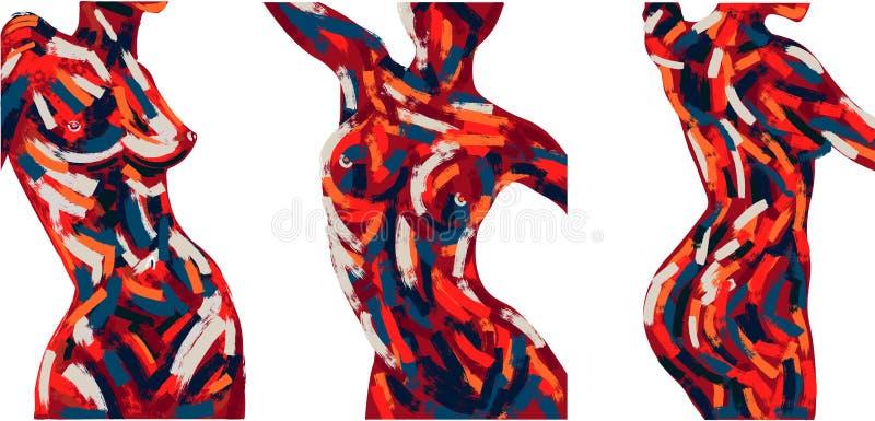 Установите картины маслом современного искусства vecor иллюстрация штока