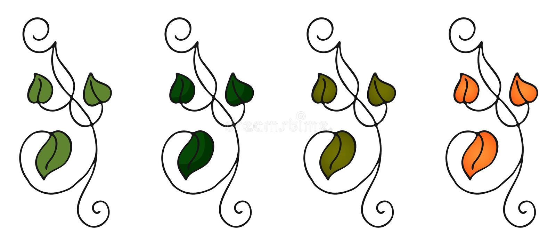 Установите картины природы 4 рук вычерченной с листьями в стиле doodle в других вариантах плоско и градиенте иллюстрация вектора