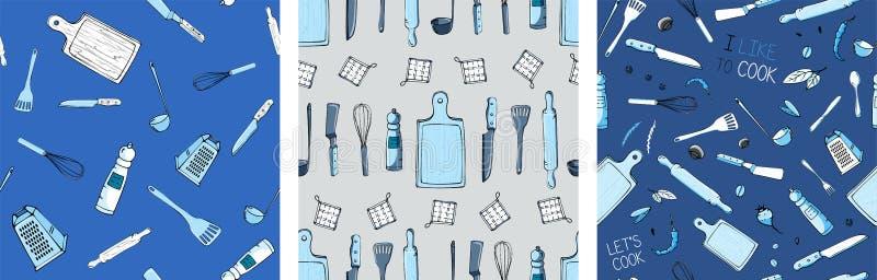 Установите картины руки вычерченной безшовной с утварями кухни иллюстрация вектора
