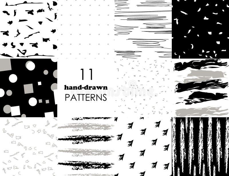 Установите 11 картины руки вычерченной ультрамодной с ходами щетки чернил Изолированный на белых и черных предпосылках Картины ве иллюстрация вектора