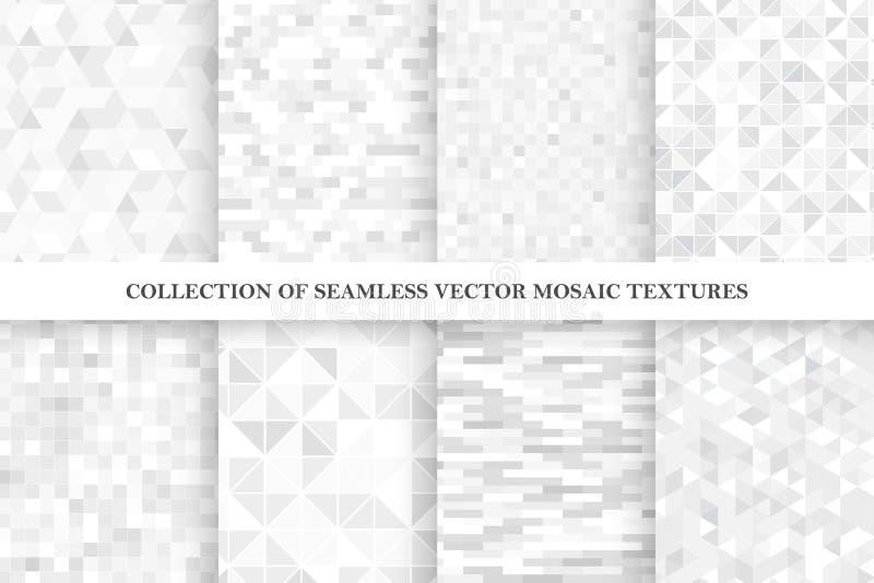 Установите картин геометрического вектора плитки безшовных Текстуры белой и серой мозаики бесконечные иллюстрация штока