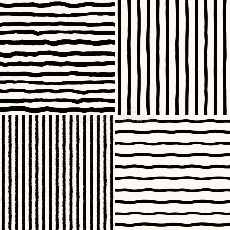 Установите картин щетки руки вычерченных striped безшовных ретро иллюстрация штока