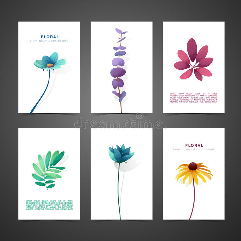Установите карточку дизайна шаблона с оформлением цветка Комплект приглашения с минимальным дизайном Оформление с цветком, заводо бесплатная иллюстрация