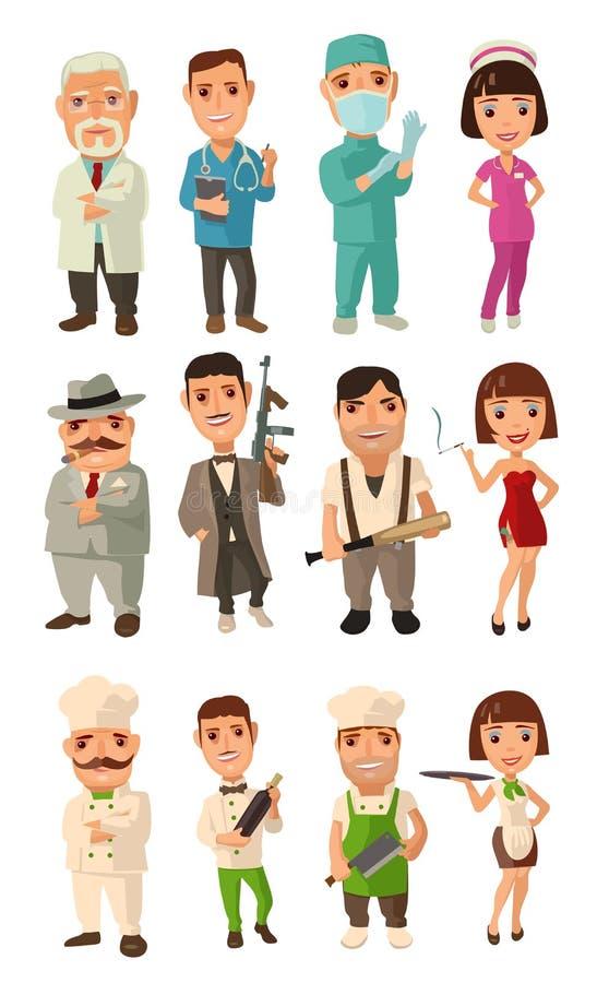 Установите кашевара характера значка, мафии, доктора Кельнер, шеф-повар, официантка, надевает, каподастр, солдат, танцор иллюстрация вектора