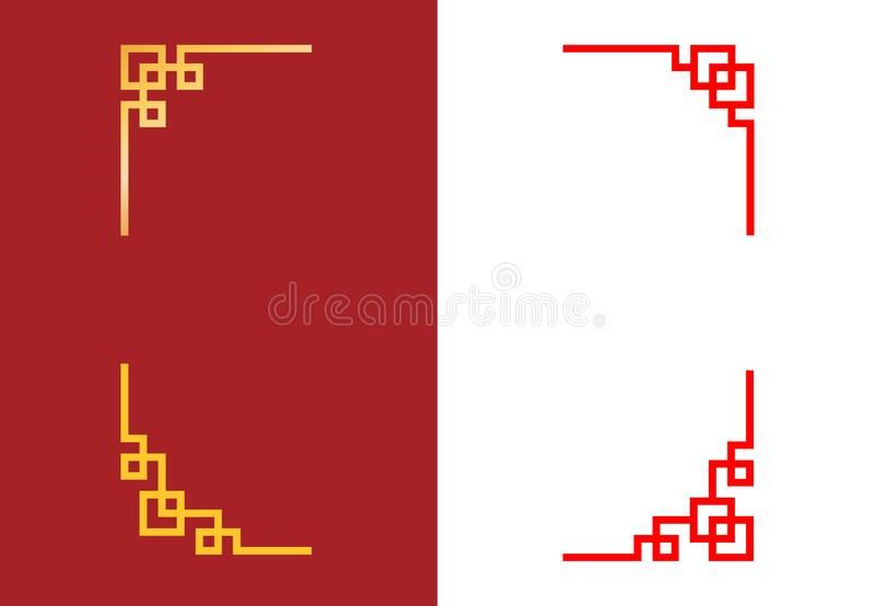 Установите китайского угла в линейном стиле, векторе бесплатная иллюстрация