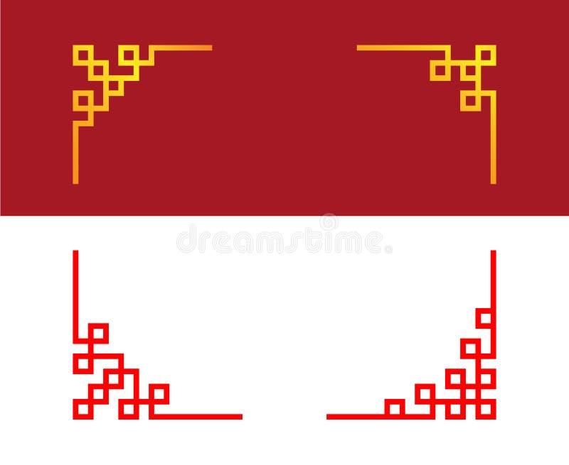 Установите китайской линии орнамента угла, искусства вектора иллюстрация вектора