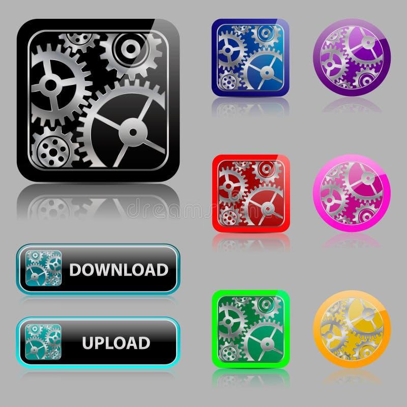 Установите кнопки сети с шестернями бесплатная иллюстрация
