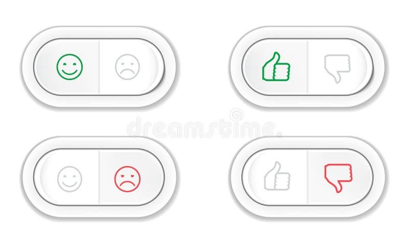 Установите кнопок с улыбками и полюбите и невзлюбите иллюстрация штока
