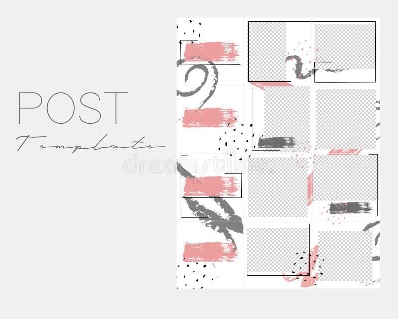Установите коллажа instagram Крышка вектора Предпосылки дизайна для социального знамени средств массовой информации Установите ша иллюстрация вектора