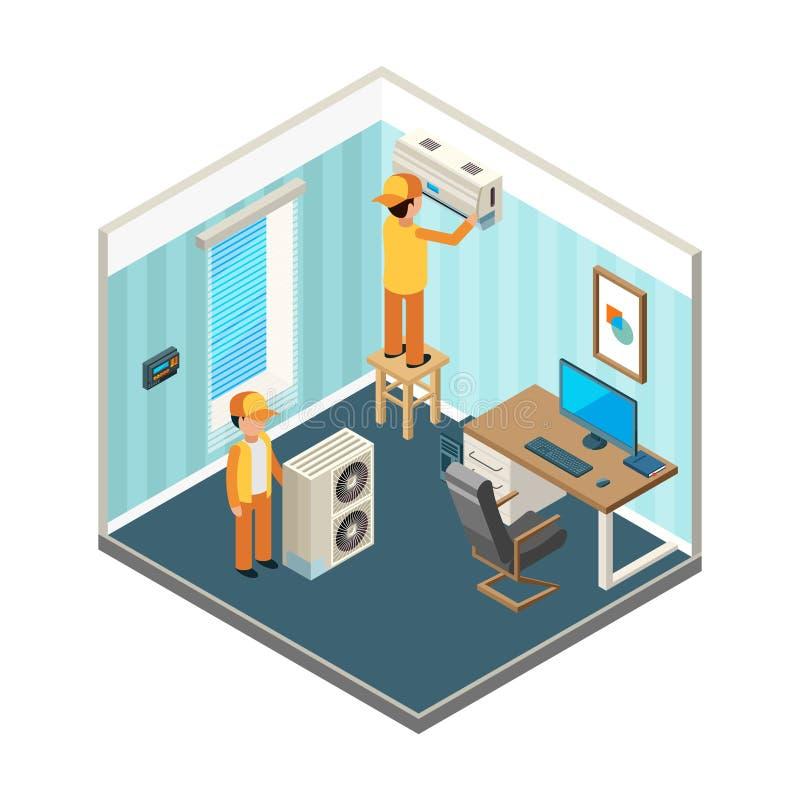 Установите кондиционер Техники зафиксировали электрические и охлаждая системы отопления на векторе комнаты офиса равновеликом иллюстрация штока