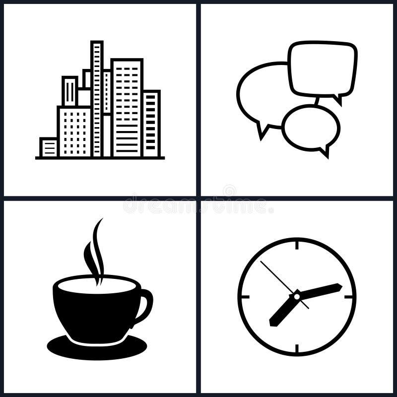 Установите конторскую работу и деловую жизнь значков бесплатная иллюстрация