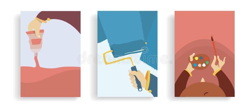 Установите концепции знамен искусства Руки мультфильма с трубкой краски, роликом Красочные плоские плакаты r иллюстрация вектора