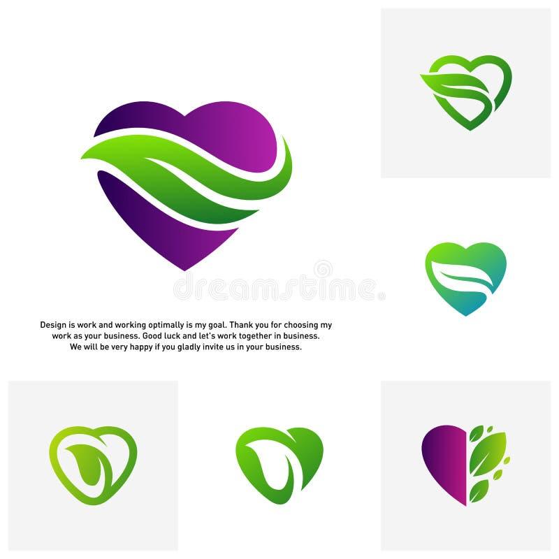 Установите концепций логотипа любов зеленых творческих, логотипа сердца природы, элементов и символов, шаблона - вектора иллюстрация вектора