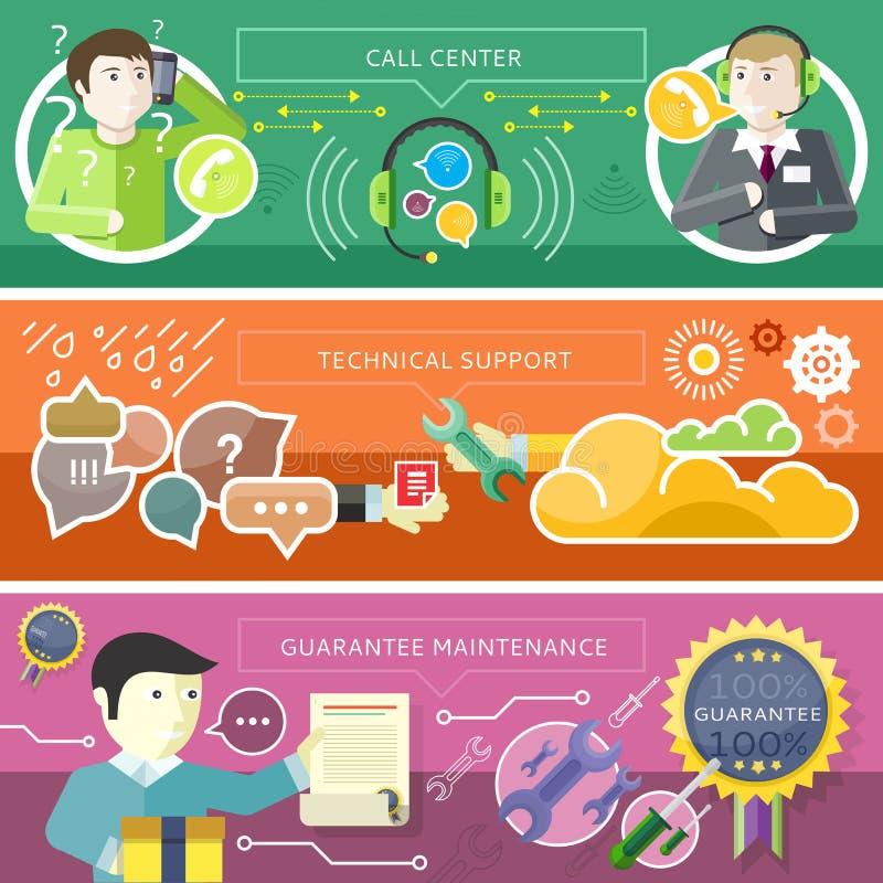 Установите концепцию службы технической поддержки центра телефонного обслуживания иллюстрация штока