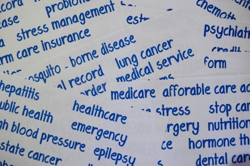 Установите короткого здравоохранения слов Концепция здравоохранения с зеленой предпосылкой стоковое изображение rf