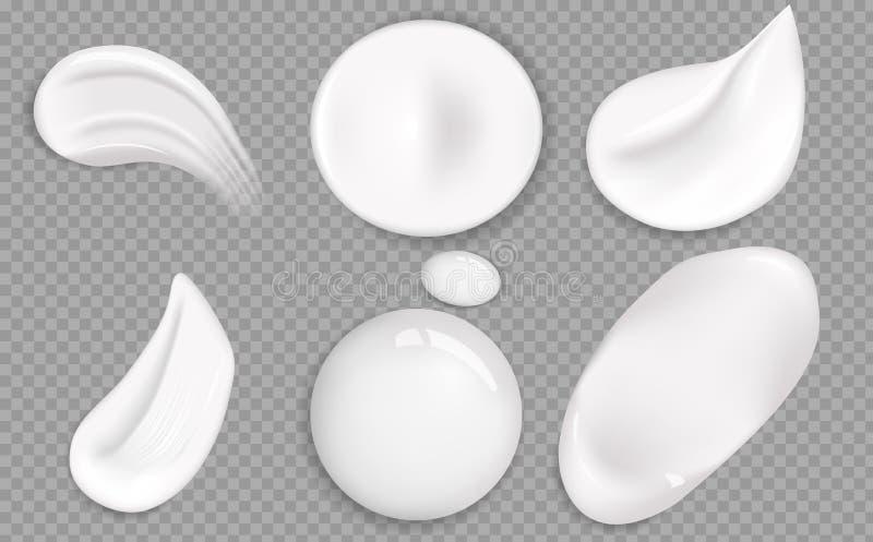 Установите косметической белой текстуры сливк Косметическая сливк мажет реалистический набор значка Мазки толстой белой косметиче бесплатная иллюстрация