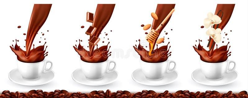 Установите кофе с различными вкусами и выплеском иллюстрация штока
