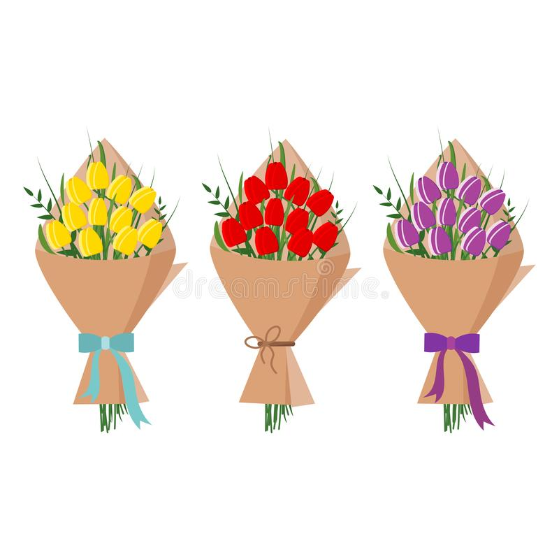 Установите красивого букета желтых, красных, пурпурных тюльпанов в упаковке бумаги kraft изолированных на белой предпосылке, квар бесплатная иллюстрация